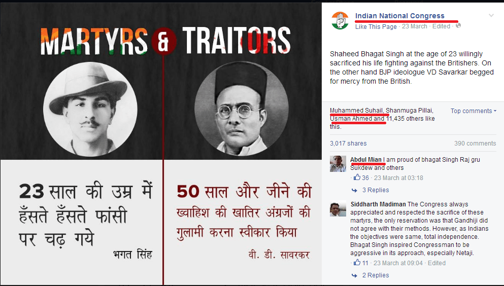 Congress post insulting Veer Savarkar