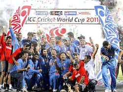 Players celebrate as Team India win the Cricket World Cup final against Sri Lanka in Mumbai, India. That winning moment