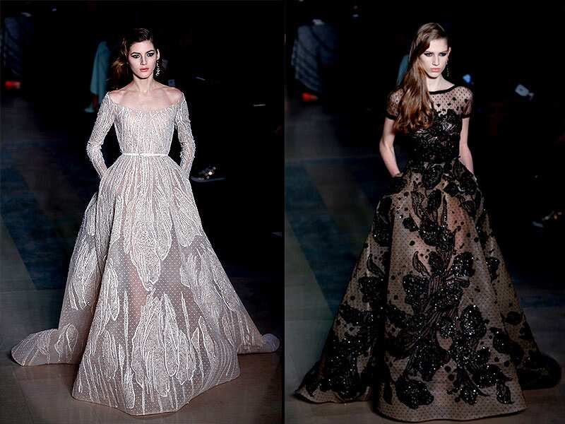 Elie Saab: The Elie Saab wedding gowns often leave a strong impression at haute couture fashion week. This time, the dress is not white or ivory but dyed in a range of different colors, all of which are understated, soft and natural. A true showstopper, the dress shimmers from the shoulders to the end of the train, as if it were adorned with a multitude of miniature lightbulbs. The waist is accentuated through a contrast with the hips, which are widened with bustles. It's a dress truly fit for a princess.