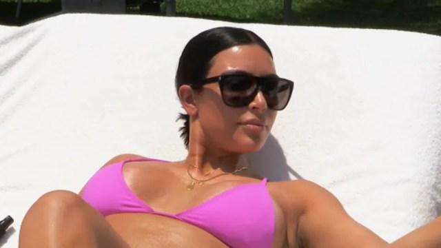 Image result for Kim Kardashian pink bikini