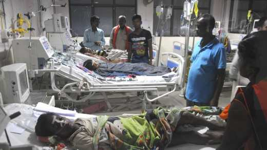 An inside view of a ward of BRD Hospital in Gorakhpur.