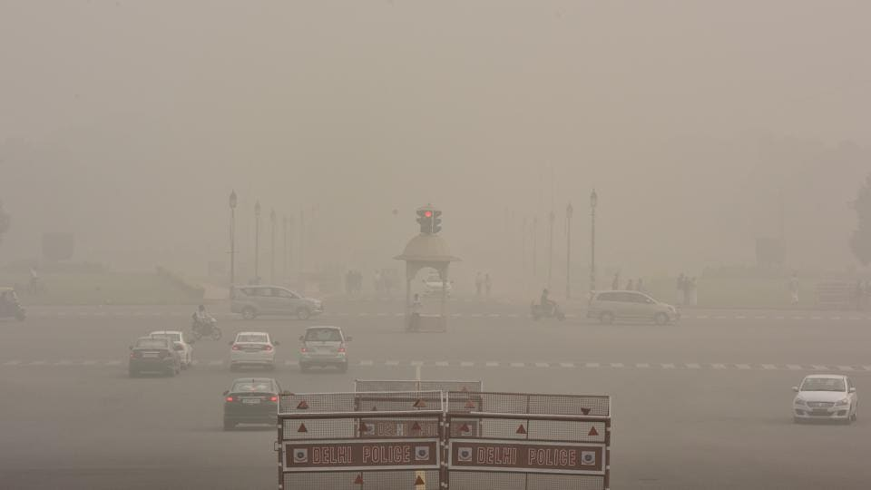 Dense smog engulfed the city resulting in very less visibility in the morning at Raisina in New Delhi, on Sunday.