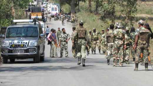 Bodies of security forces being taken away in Tongpal in March 2014 after Maoist rebels ambushed police and killed 16. Security forces have killed at least 69 Maoists (their bodies were recovered) so far this year, but lost 59 of their own during encounters.
