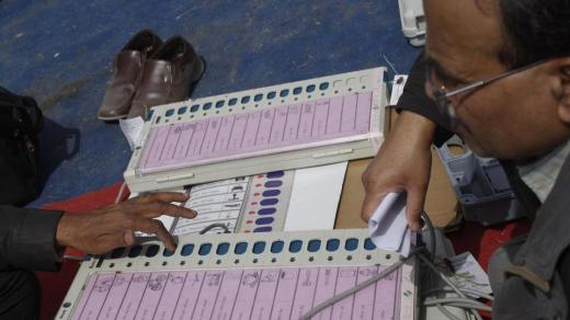 Polling officers check electronic voting machines (EVMs) at an EVM distribution centre, Phase 2, Noida, NCR (File Photo)