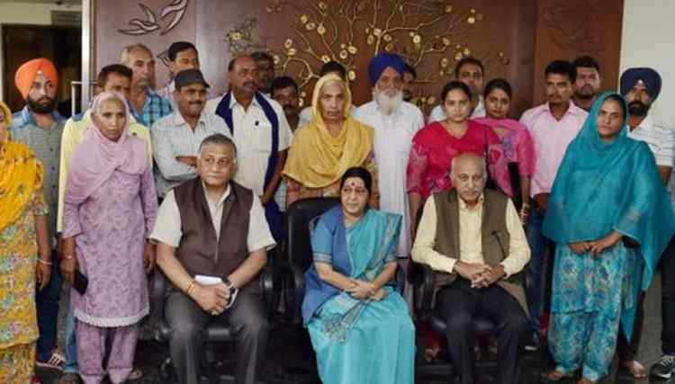 Foreign minister Sushma Swaraj and ministers of state for external affairs MJ Akbar and Gen VK Singh with the family members of the 39 Indian men who went missing in Iraq in 2014.