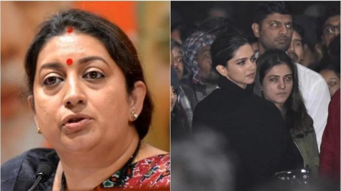Smriti Irani reacts to Deepika Padukone's JNU visit.