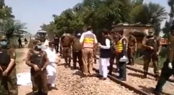The bus carrying the pilgrims was hit at an unmanned railway crossing by the Karachi bound Shah Hussain Express.