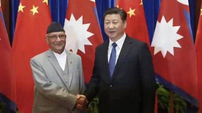 Chinese President Xi Jinping with Nepalese Prime Minister KP Sharma Oli.