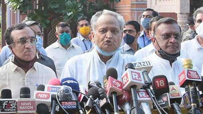 Rajasthan chief minister Ashok Gehlot outside the Governor's residence in Jaipur, Rajasthan on Friday.
