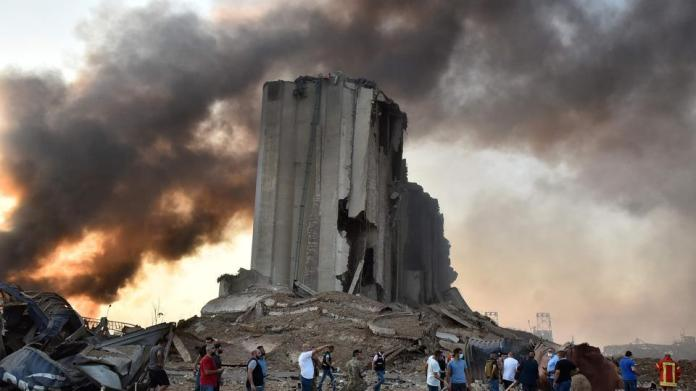 A picture shows a destroyed silo at the scene of an explosion at the port in the Lebanese capital Beirut.