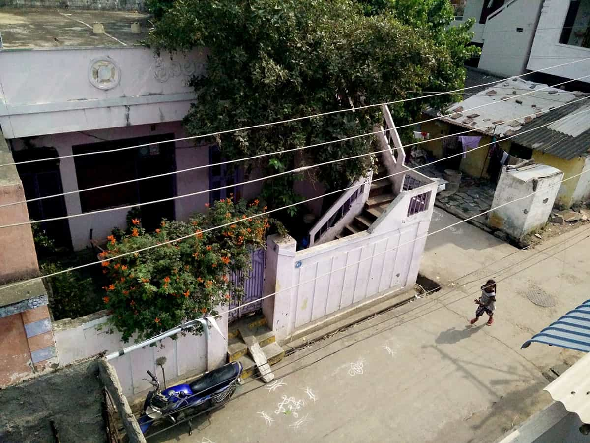 Rohith's adoptive grandmother Anjani Devi's house in Prashanth Nagar. While Anjani Devi adopted Rohith's mother as a child, she emerges at best as a benevolent employer than a caring mother.
