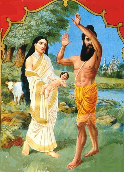 Menaka, güzel Shakuntala'yı bilge Visvamira'ya gösterdiğinde bilgenin görmek istemediği, daha fazla mayadan etkilenmek istemediğini betimleyen resim