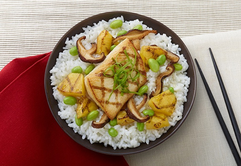 image of teriyaki mahi mahi coconut rice