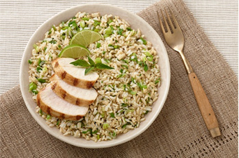 image of thai chicken and green rice
