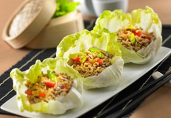 Spiced Pork Brown Rice Lettuce Cups