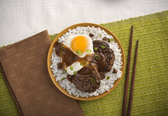 Hinode rice: Loco Moco Calrose Rice Plate Recipe