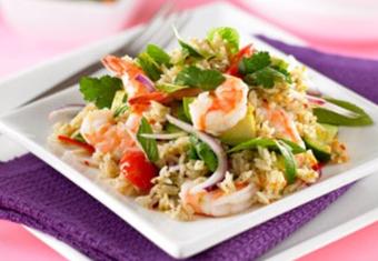 Hinode rice: Thai Prawn and Rice Salad recipe