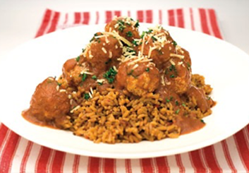Hinode rice: mediterranean meatballs and tomato rice