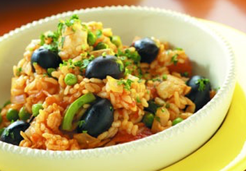 Hinode rice: Spanish rice with olives