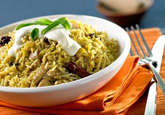 Hinode Rice: Spiced Basmati Rice with Mint Yogurt