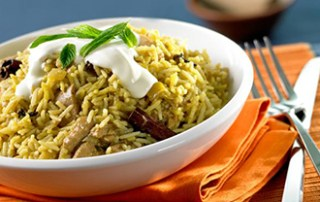 Hinode Rice: Spiced Basmati Rice with Mint Yogurt