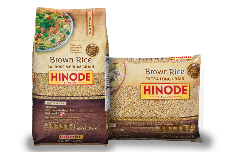 two bags of Hinode brown rice next to each other