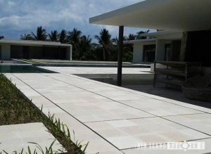 classic white stone installed for pool terrace