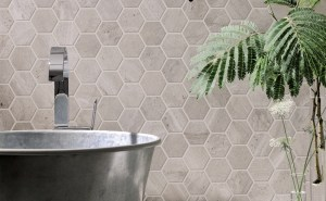 mosaic ceramic with hexagon for wall cladding in bathroom
