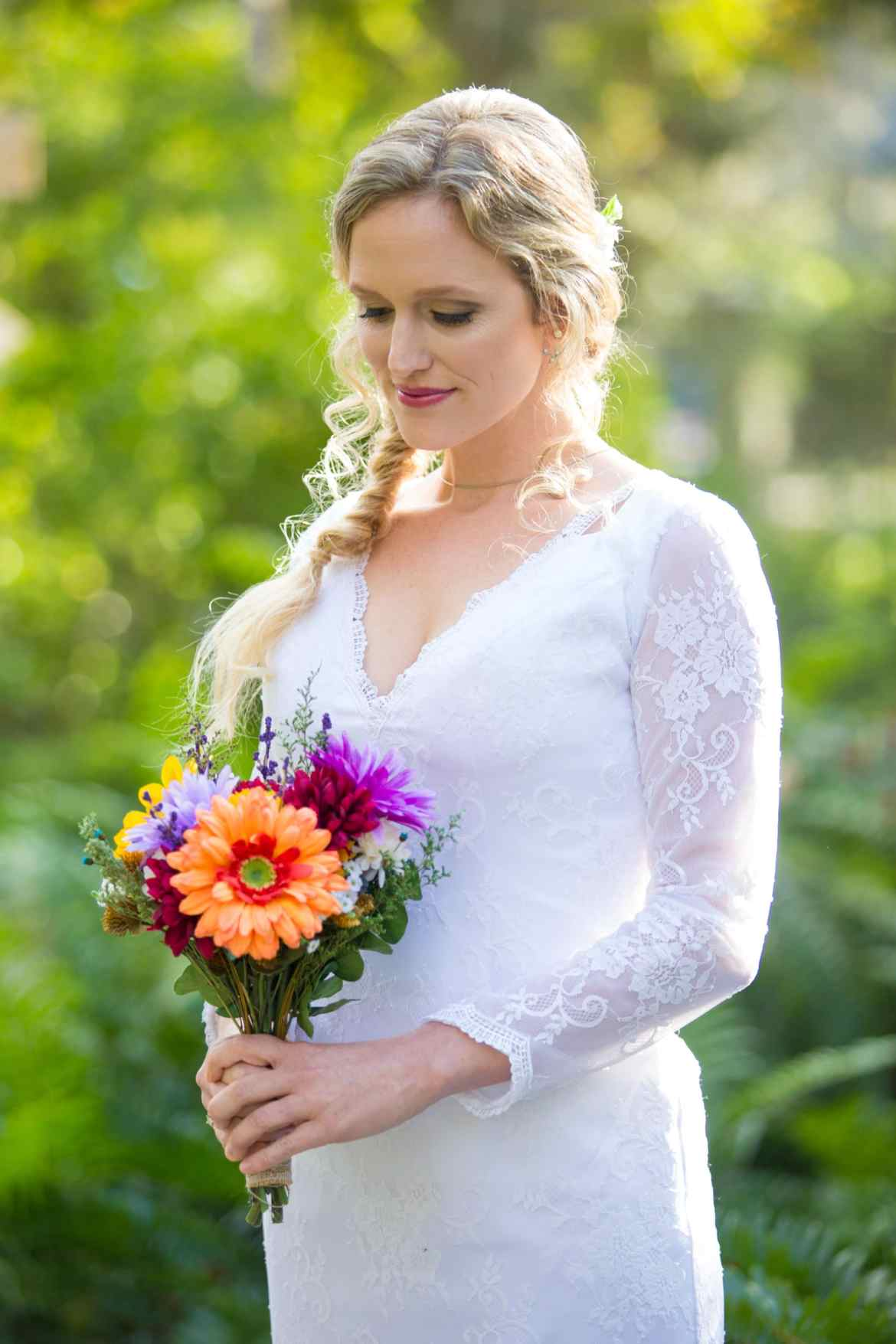 Port Orange Wedding photography image of bride before wedding at sugar Mill Gardens in port Orange, FL