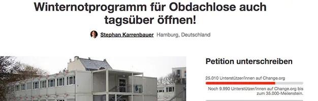 Online-Petition: Winternotprogramm: Bereits mehr als 25.000 Unterschriften für Tagesöffnung gesammelt