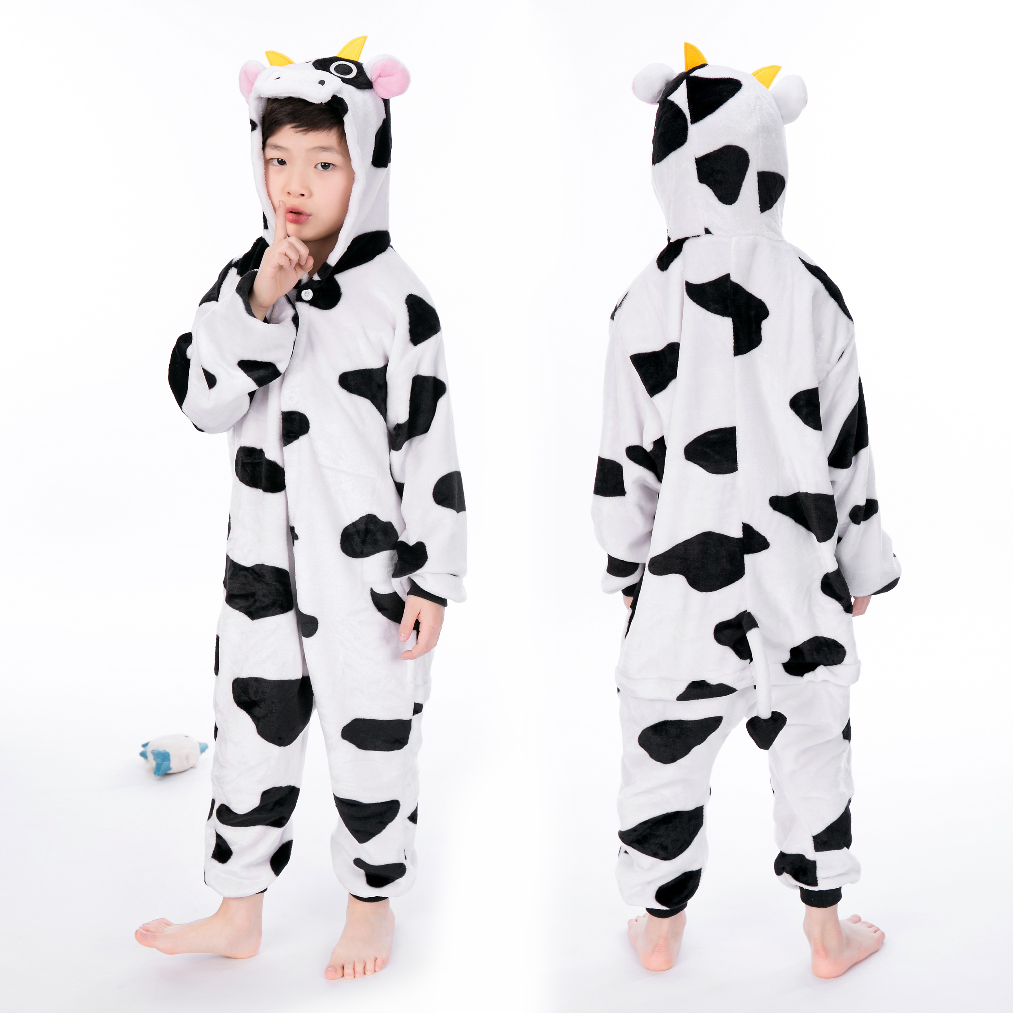 Cow Onesie For Kid Animal Kigurumi Pajama Halloween Costumes
