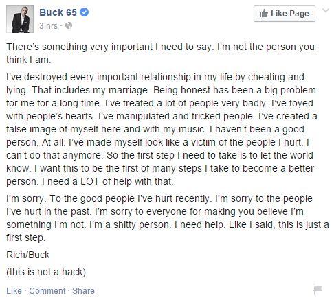 Buck65facebookpost