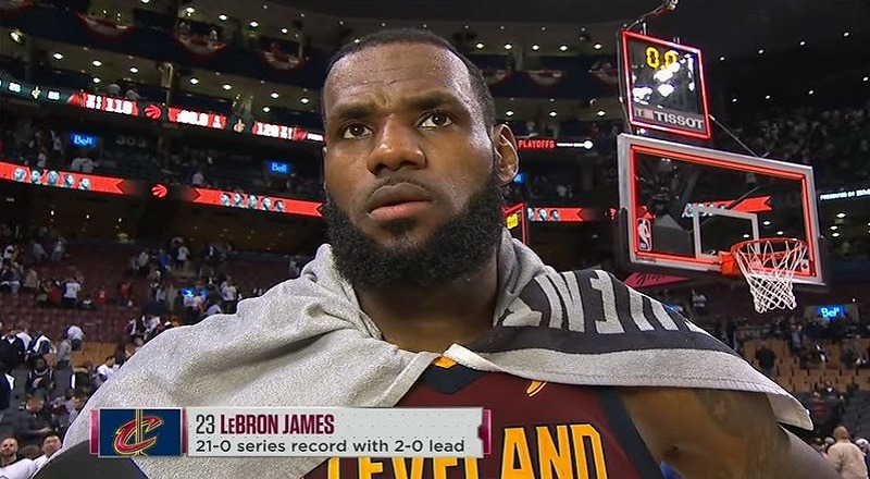 dff4cf5994a LeBron James talks strong performance and leading Cleveland to 2-0 lead vs.  Raptors in Toronto  NBAonESPN  VIDEO