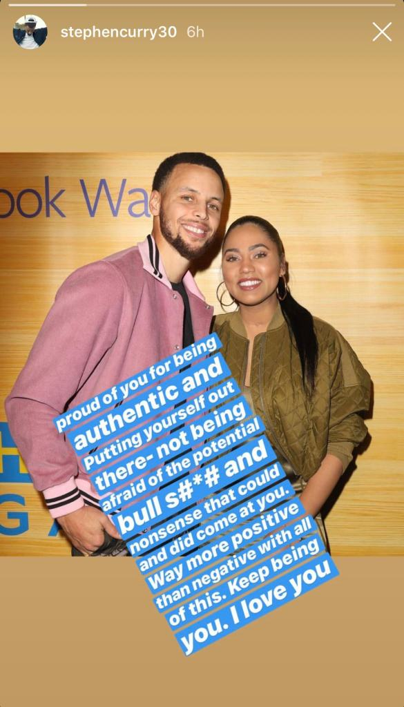 steph curry defends his wife  ayesha curry  and her