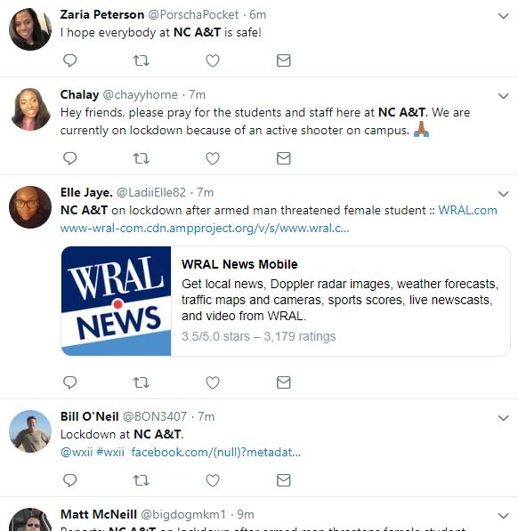 NC A&T is on lockdown after a man threatened a female student and