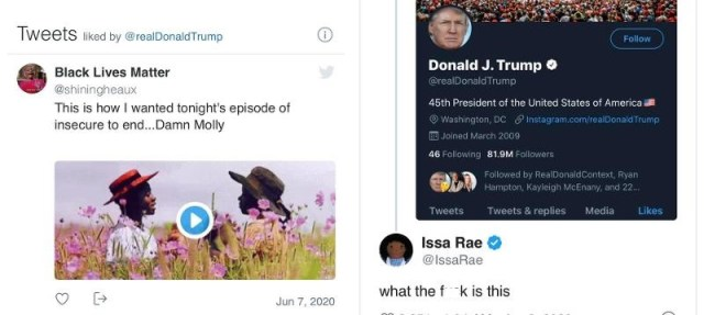"Issa Rae had questions for Donald Trump, the embattled president of the United States. Randomly, Trump liked a tweet, on Twitter, which was an ""Insecure"" promo video. After seeing this, Issa Rae questioned ""what the f*ck is this."""