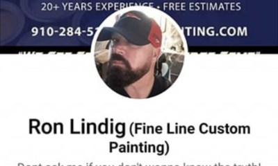 Ron Lindig, local Jacksonville, North Carolina business owner, CEO of Fine Line Custom Painting, makes racist remarks on Facebook. After a woman suggests a peaceful protest, he tells her to go back to the motherland, where she came from. After receiving backlash, Lindig responded by insulting black people, motherf*ckers and thieves.