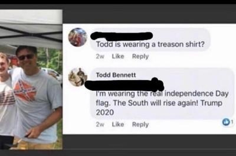 """Todd Bennett, a police officer, in Belleville, Ontario, in Canada, shared a photo of himself wearing a Confederate flag t-shirt. One of his friends commented, asking if he was wearing a treason t-shirt. He replied that he was wearing the """"real"""" independence day flag, and """"The South will rise again,"""" a George Wallace quote."""
