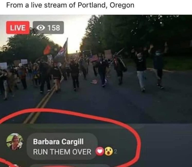 "Barbara Cargill has definitely become popular, on Facebook, today, living in infamy. Not everyone agrees with the protesting, and she is among those who don't. But, in the wake of protesters being run over, and some even shot and killed, Barbara Cargill commented ""RUN THEM OVER,"" on a live stream of the Portland protests, so people did some sleuthing, and found her profile."