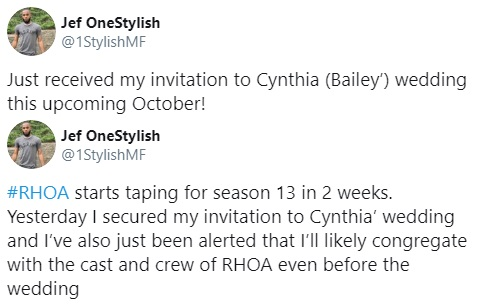 "According to rumors on Twitter, Cynthia Bailey will be having her wedding in October. Since 2018, she has had her boyfriend, Mike Hill, with her, on ""The Real Housewives of Atlanta."" The rumors suggest the #RHOA cast and crew will be present to see Cynthia and Mike get married."