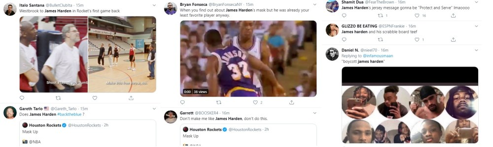 James Harden has come under fire, in NBA Orlando, for his choice of face covering. Due to COVID-19, face masks are nearly mandatory, and the NBA is definitely participating. But, James Harden's Blue Lives Matter mask, supporting police officers, has put him on the wrong side of Twitter.