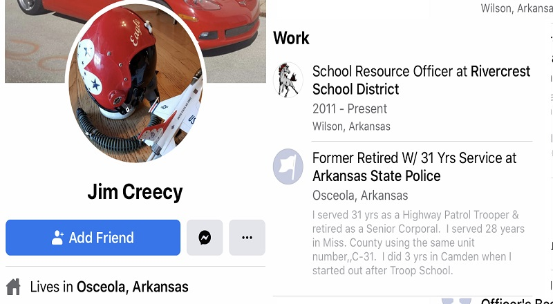 """Jim Creecy is a former police officer and school resource officer at Rivercrest Elementary School, in Arkansas. Despite taking an oath to protect and serve all, Creecy has disdain for black people. Mocking Black Lives Matter, Creecy said """"black lives matter, alright!,"""" and then described killing black people by tying blocks around their ankles, forcing them to drink bleach, and drowning them in water that's three miles deep."""