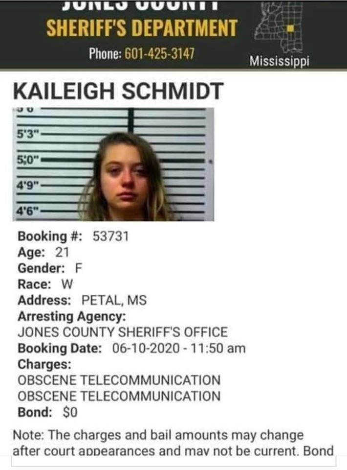 """Kaileigh Schmidt, of Jones County, Mississippi, shared her parents racist rants, about the Black Lives Matter movement, on Facebook and TikTok. Angering her parents, Schmidt ended up being arrested, after her parents reported her to the police, over her actions. The young Schmidt, who is only 21-years-old, was arrested for """"obscene telecommunication,"""" with law enforcement citing potential threats from ANTIFA and Black Lives Matter towards her parents as the reason for her arrest."""
