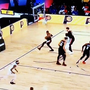 """Carmelo Anthony took over Twitter, for his hilarious rebound, in the Portland Trail Blazers' game against the Indiana Pacers. When the shot missed, Anthony immediately said """"I got it, get the f*ck outta here,"""" setting Twitter off."""