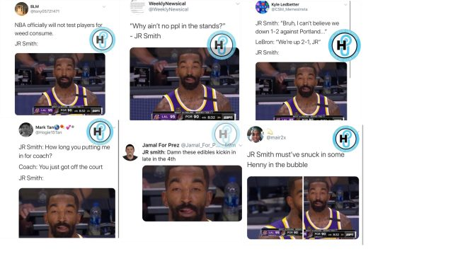JR Smith's look on his face, during Game 3, of the Lakers/Blazers series has people thinking he was high. The fans on Twitter made this a thing, coming up with their own jokes about what was going on in JR's mind, as he made that face.