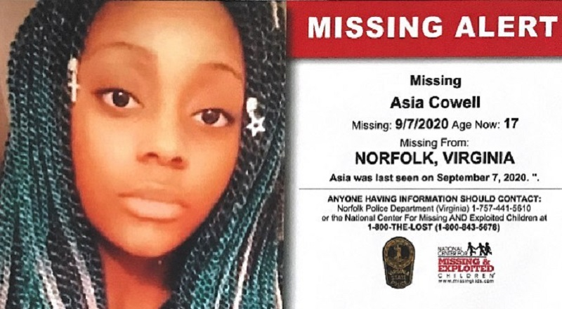 Asia Cowell, age 17, from Norfolk, Virginia, is missing. This young lady was last seen on September 7, 2020, on W. Kenmore Drive. Cowell previously went missing, in 2017.