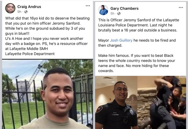 Jeromy Sanford has gone viral on Facebook, but not for good reasons. The Lafayette, Louisiana police officer was caught on camera beating a sixteen-year-old black teenager. On Facebook, people have identified him for beating the child, and calling on Lafayette's mayor to fire him, also exposing him as a school resource officer at Lafayette Middle School.