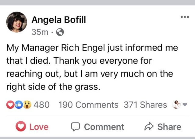 Angela Bofill was rumored to have died, this morning. The singer hasn't died, but she took all of the rumors in stride. Using her sense of humor, Angela Bofill took to Facebook, saying she heard that she died, but let people know that she is alive and well.