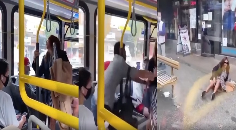 "On a public transit bus, a woman entered, standing on the bus, not wearing a mask. The man sitting in front of her shouted ""disgusting"" at her, prompting the woman to spit on him. Angry, the man got up, punched the woman, and then shoved her off the bus, leading to her falling onto the pavement."