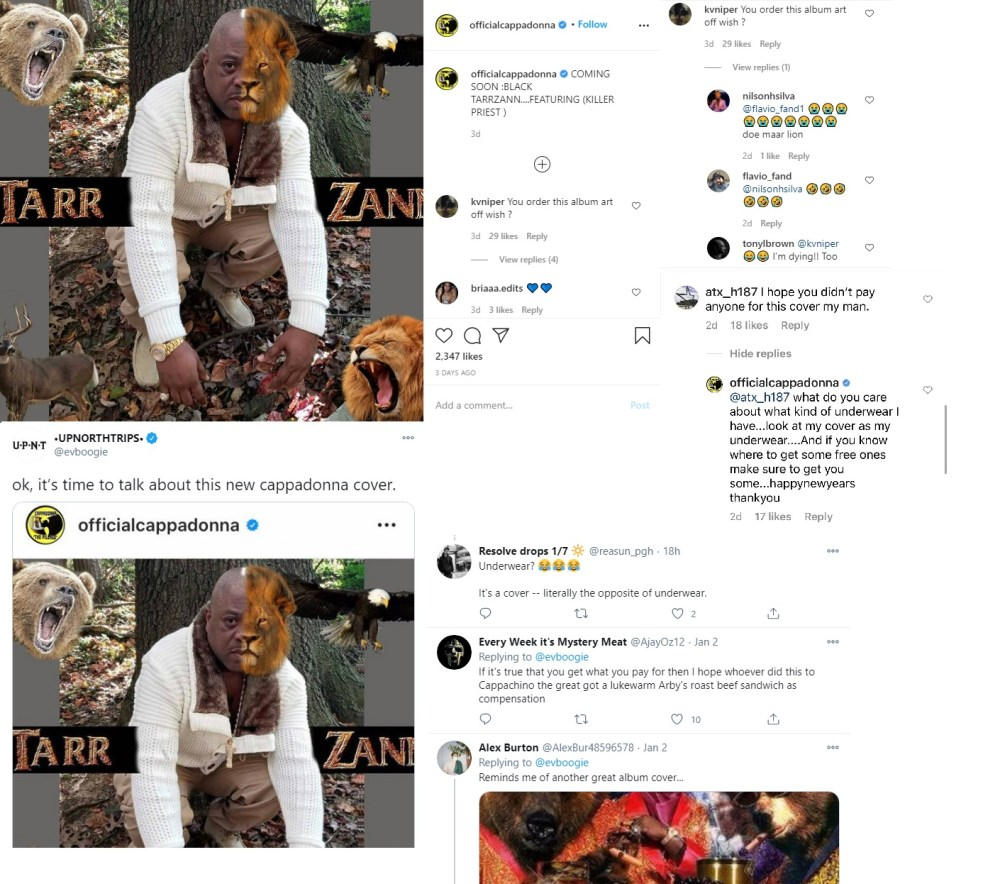 Cappadonna Tarr Zann album cover IG comments roasted